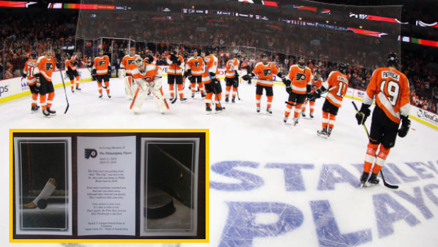 The Philadelphia Flyers address the home crowd after being eliminated from the 2018 postseason.